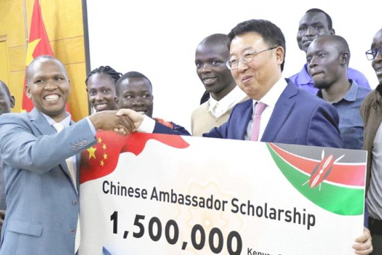 China Ambassador to Kenya Wu Peng hands over dummy cheque