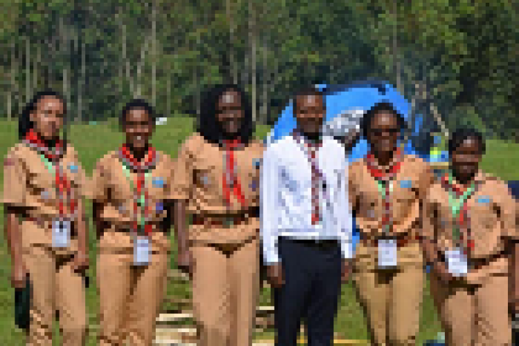 Ngamia patrol with their scout leader in Rwanda