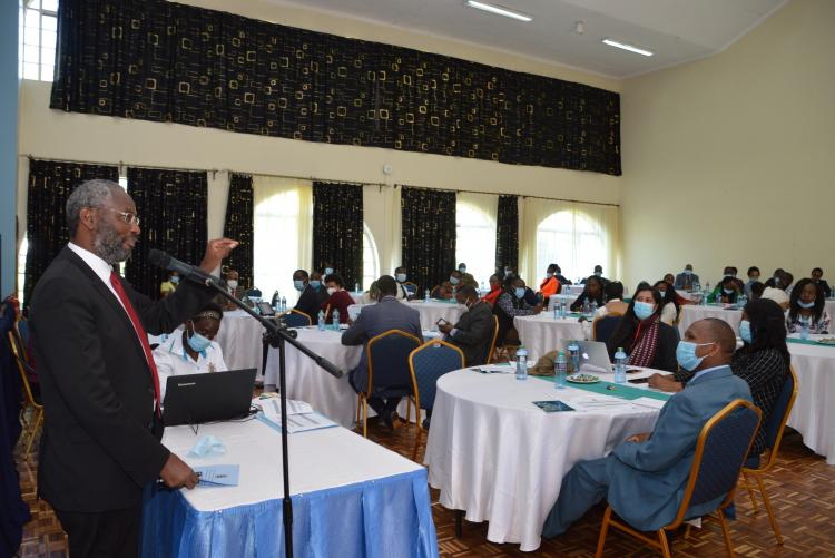 VC, Prof. Stephen Kiama, address the UNSA Leaders and staff present